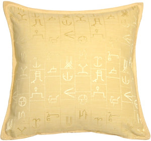 Ancient Runes Yellow 17x17 Throw Pillow