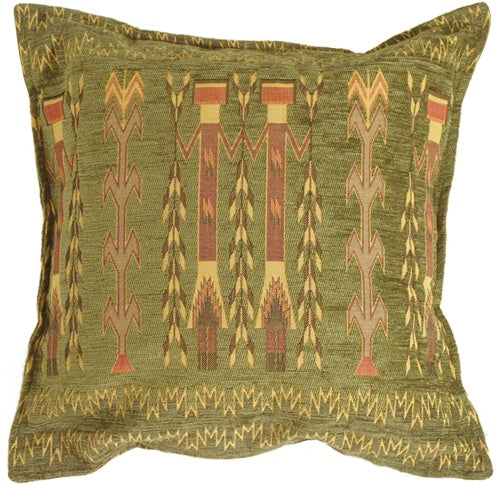 Santa Fe Wheat Green 17x17 Throw Pillow