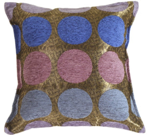 Multicolor Spheres Blue Pillow