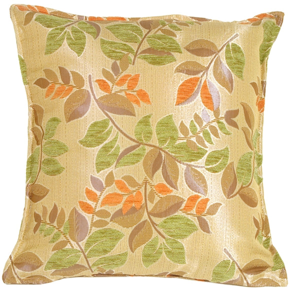 Leaf Textures in Green and Orange Throw Pillow