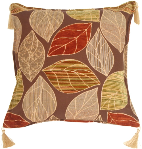 Outlined Leaves with Texture Throw Pillow