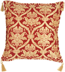 Cherry Red and Wheat Lattice Throw Pillow