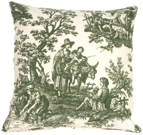 Green and Cream Classic Toile Throw Pillow
