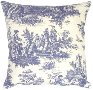 Blue and Cream Classic Toile Throw Pillow