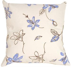 Blue Lilies with Chocolate Leaves on Cream Throw Pillow