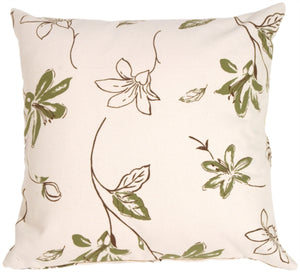 Green Lilies with Chocolate Leaves on Cream Throw Pillow
