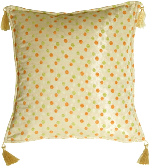 Lots of Dots in Orange and Lime Accent Pillow