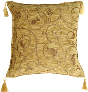 Tan Chenille with Metallic Gold Scrolls Accent Pillow