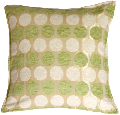 Lime and Cream Circles in Chenille Accent Pillow