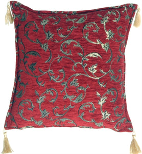 Red Chenille with Gold Vines Accent Pillow