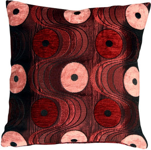 Optical Swirl Red 17x17 Throw Pillow