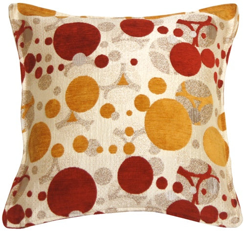Bubbles Red and Gold 17x17 Throw Pillow