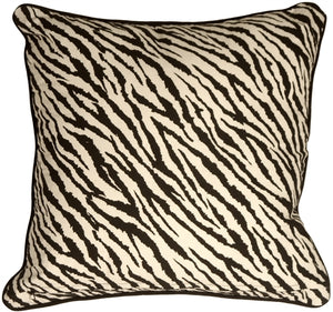 Zebra Print Cotton Large Throw Pillow