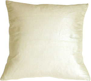 "Dupioni Silk 17"" Vanilla Throw Pillow"