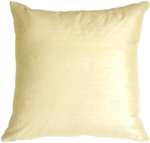 "Dupioni Silk 17"" Rich Cream Throw Pillow"