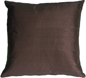 "Dupioni Silk 17"" Plum Brown Throw Pillow"