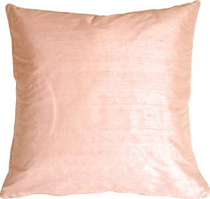 "Dupioni Silk 22"" Shell Pink Throw Pillow"