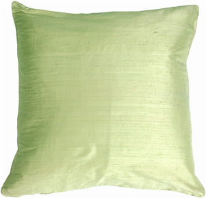 "Dupioni Silk 17"" Honeydew Green Throw Pillow"