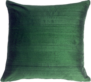 "Dupioni Silk 17"" Deep Sea Green Throw Pillow"