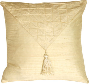 Dupioni Silk Cream Envelope Throw Pillow