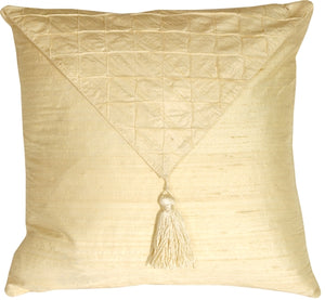Dupioni Silk Cream 17x17 Envelope Throw Pillow