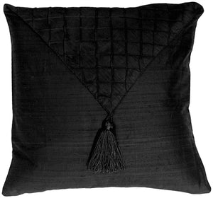 Dupioni Silk Black 17x17 Envelope Throw Pillow