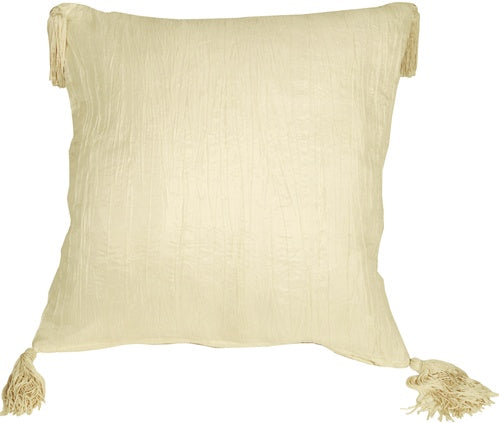 Crinkle Silk in Ivory Throw Pillow
