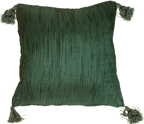 Crinkle Silk in Emerald Green Throw Pillow
