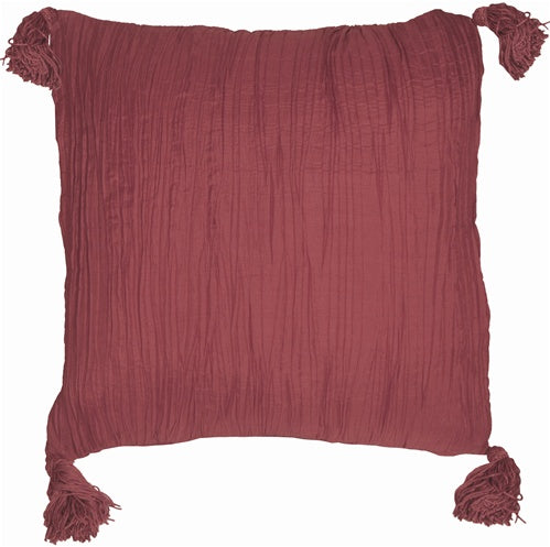 Crinkle Silk in Raspberry Throw Pillow