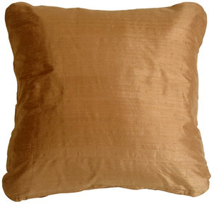 Round Corner Golden Bronze Silk 17x17 Throw Pillow