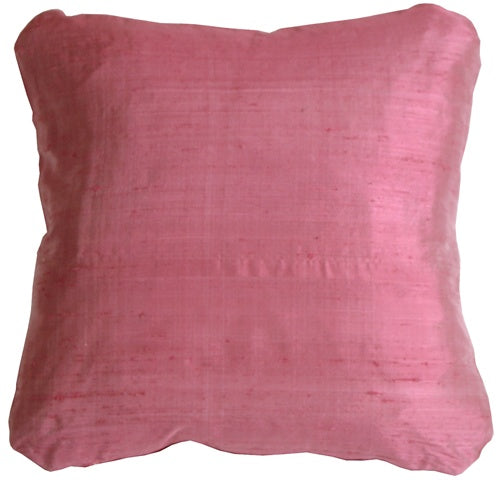 Round Corner Raspberry Silk 17x17 Throw Pillow