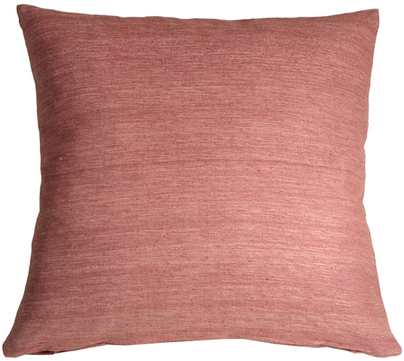 Tussar Silk Raspberry 17X17 Throw Pillow