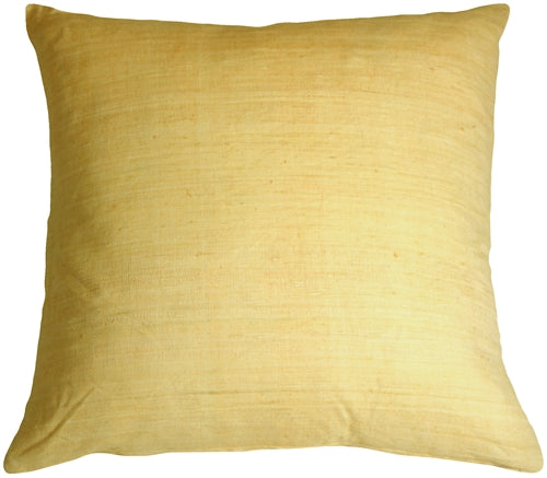 Tussar Silk Soft Yellow 22x22 Throw Pillow