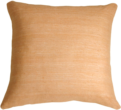 Tussar Silk Peach 17X17 Throw Pillow