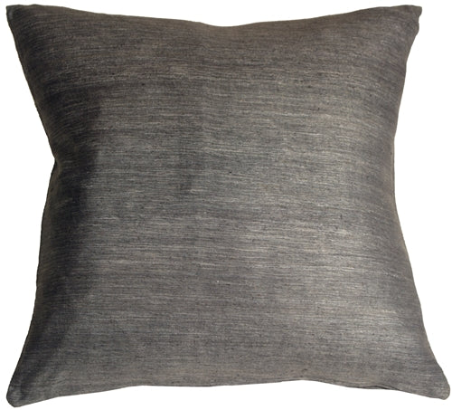 Tussar Silk Gray 22x22 Throw Pillow