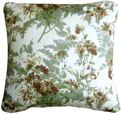 Brookside Garden Green 17x17 Throw Pillow