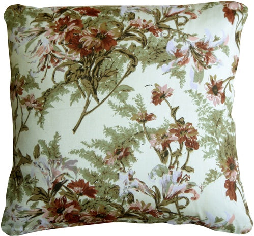 Brookside Garden Blush 17x17 Throw Pillow