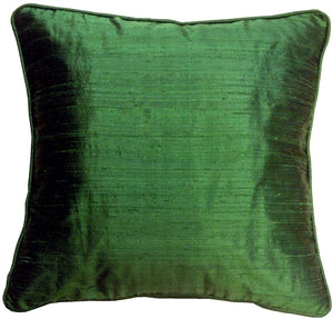 Dupioni Silk 17x17 Emerald Green with Piping Throw Pillow