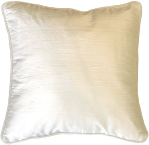 Dupioni Silk 17x17 Off-White with Piping Throw Pillow
