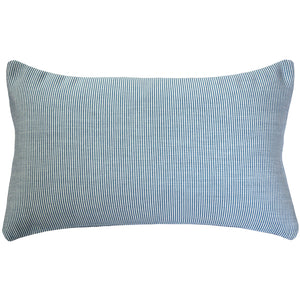 Sunbrella Rib White-Sky Blue Outdoor Pillow 12x20