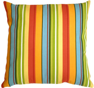 Bistro Stripes Azalea 20x20 Outdoor Pillow