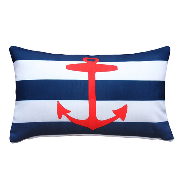 Red Anchor Nautical Throw Pillow 12X20
