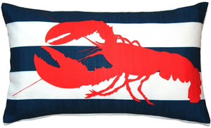 Red Lobster Nautical Throw Pillow 12X20