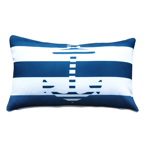 Blue Anchor Nautical Throw Pillow 12X20