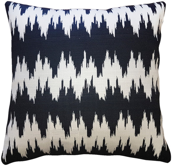 Ikat Stripes Black and Cream Throw Pillow 20x20