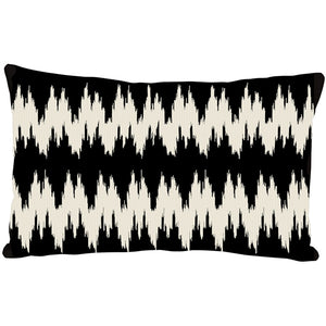 Ikat Stripes Black and Cream Throw Pillow 12x20