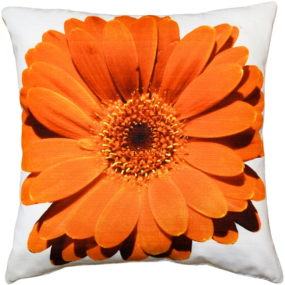 Bold Daisy Flower Orange Throw Pillow 20X20