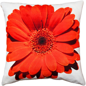 Bold Daisy Flower Red Throw Pillow 20X20