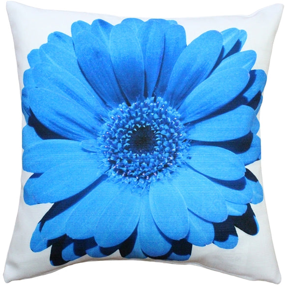 Bold Daisy Flower Blue Throw Pillow 20X20