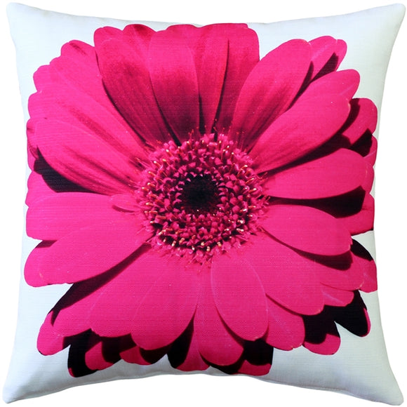 Bold Daisy Flower Pink Throw Pillow 20X20